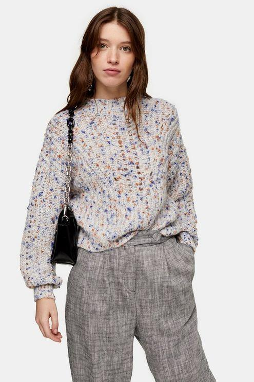 Neppy Textured Pointelle Knitted Jumper - Multi