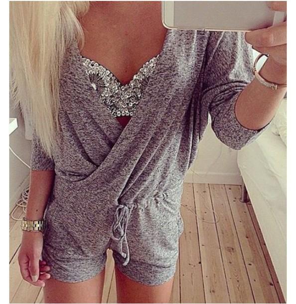 4dc28d20970 romper cute girl girly trendy romper shorts cute rompers long sleeve romper  long sleeves grey bustier