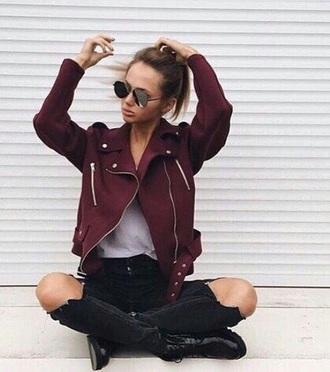 jacket perfecto burgundy jacket