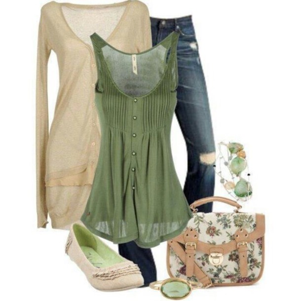 blouse green tank