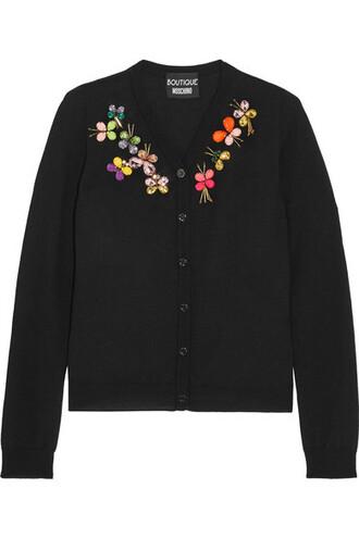 cardigan embellished black wool sweater