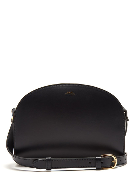 A.P.C. Half Moon leather cross-body bag in navy