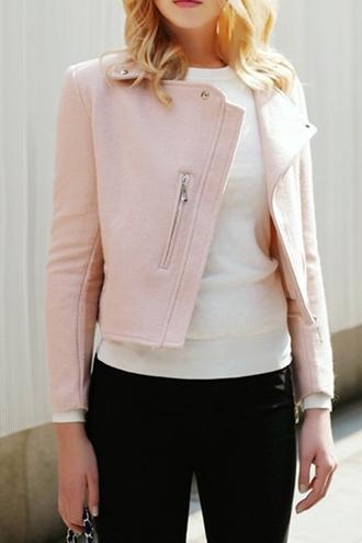 jacket pastel baby pink white streetwear zaful