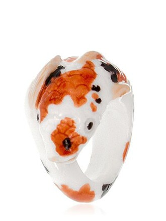 ring white orange jewels