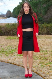 top,red,coat,red coat,long,long red coat,black turtleneck crop top,black turtleneck,cropped turtleneck,turtleneck,crop tops,black,pencils,skirt,pencil skirt,red pumps,red suede heels,heels,pumps,suede,shoes