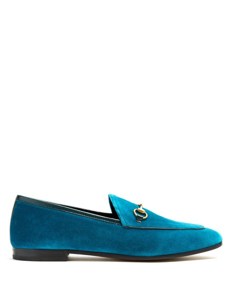 gucci loafers velvet blue shoes