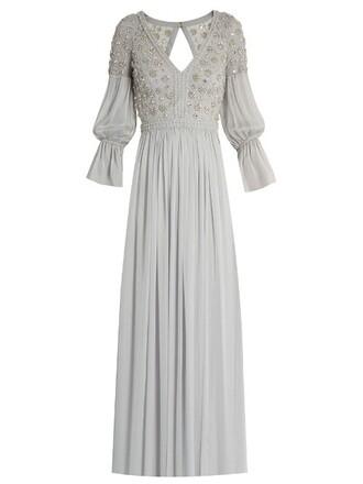 gown back open embellished silk light grey dress