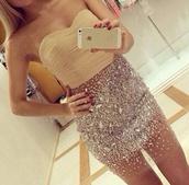 dress,skirt,top,cute,tan,glitter,sparkle,mini dress,prom dress,party dress,sexy dress,white,silver,diamants,brillant,sun,bustier dress,nude glitter dress,gold,short,sequin dress,homecoming dress,glitter dress,sparkles dress,short party dresses,bodycon dress,cute dress,gold sequins,diamonds
