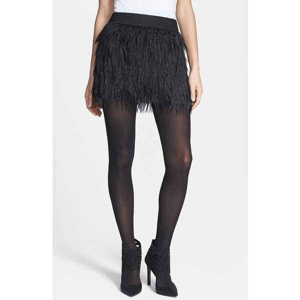 PRESS Faux Feather Miniskirt - Polyvore