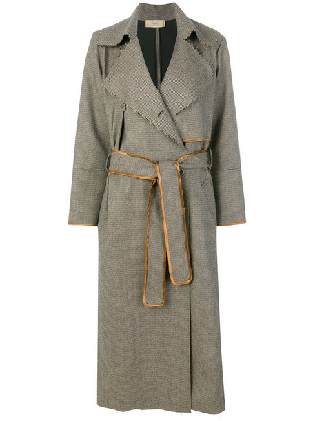 Maison Flaneur - tweed trench coat - women - Virgin Wool/Cotton/Nylon/Viscose - 42, Nude/Neutrals, Virgin Wool/Cotton/Nylon/Viscose