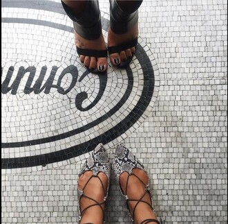 shoes snake skin flats snake print python style flatforms fashion song of style snake marble floor length dress gladiators strappy strappy heels ankle strap heels strappy shoes louboutin two pictures jeans pointed flats