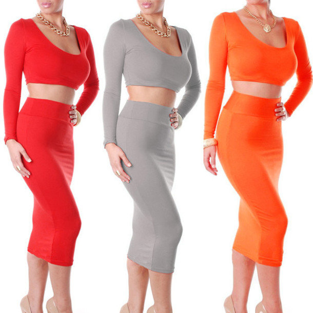 Skirt: pencil skirt, pencil dress, long sleeves, long skirt ...