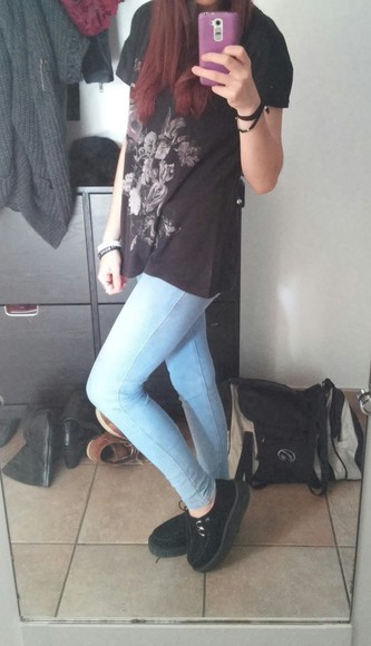 roses top sky blue jeans long top grunge shoes grunge soft grunge creepers