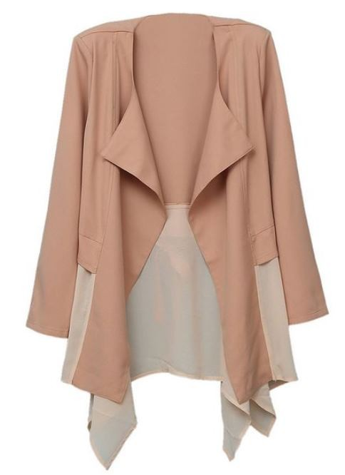 Deep Peach Lapel Chiffon Splice Long Sleeve Coat
