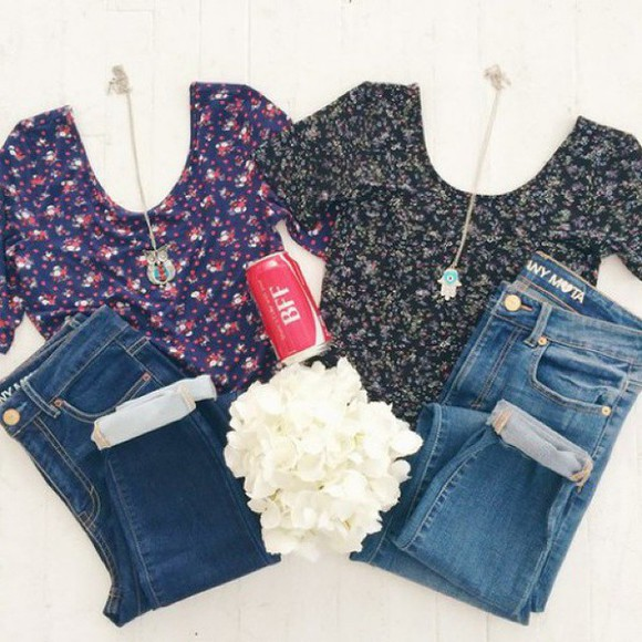 style floral black necklace cute girly tumblr instagram fashion jeans denim shorts blue shirt blue red