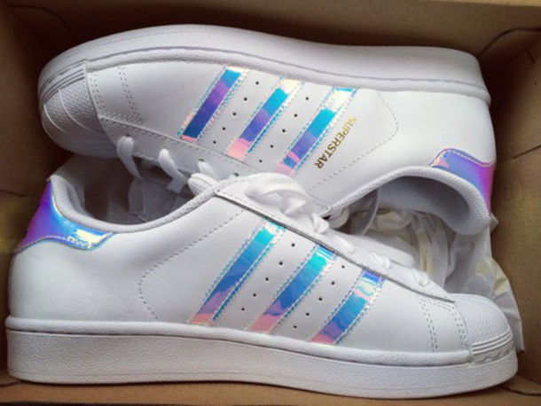 shoes, adidas, adidas superstars, holographic, addidas superstars, metallic shoes, white sneakers, iridiscent, shiny, white, superstar, low top sneakers - ...