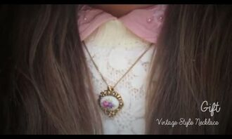 jewels necklace vintage floral gold old pink collar peter pan collar doll white cute marzia flowers colorful blue antique long short chain brown girl lovely sweet jewelry accessory blouse