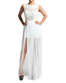 Lace Chiffon CUTOUT MAXI DRESS with BODYSUIT Slit Skirt Overlay Jumpsuit