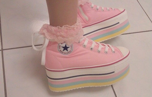 converse platform shoes platform shoes kawaii kawaii shoes frilly korean style high top converse shoes