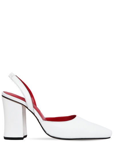 DORATEYMUR, 100mm leather sling back pumps, White, Luisaviaroma