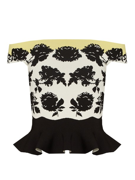 Alexander Mcqueen top peplum top rose