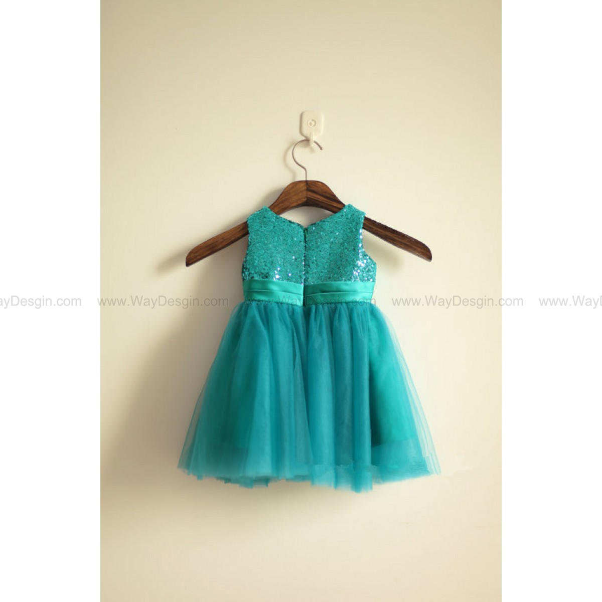 Green Sequin Tulle Flower Girl Dress Infant Toddler PAGEANT Bridal Party Dress with Ruffle Flowers