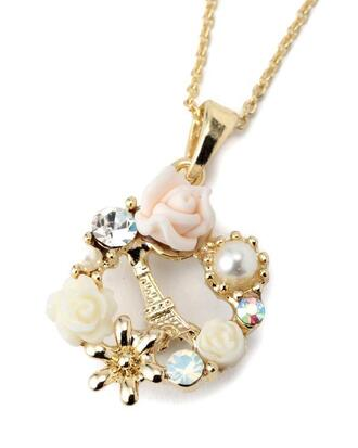 jewels liz lisa lolita necklace paris rose diamond