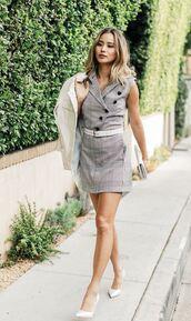 dress,plaid,mini dress,spring outfits,blogger,pumps,jacket,jamie chung,belt,shoes