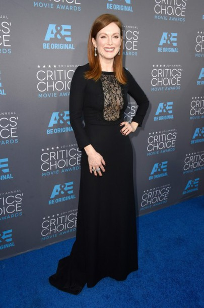 dress julianne moore people's choice awards black dress gown saint laurent