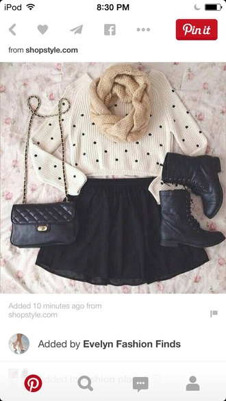 bag polka dot polka dot sweatshirt infinity scarf scarf lace up boots black skirt black bag casual cute dress ups