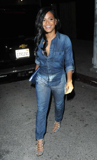 jumpsuit denim jeans christina milian sandals denim shirt black girls killin it