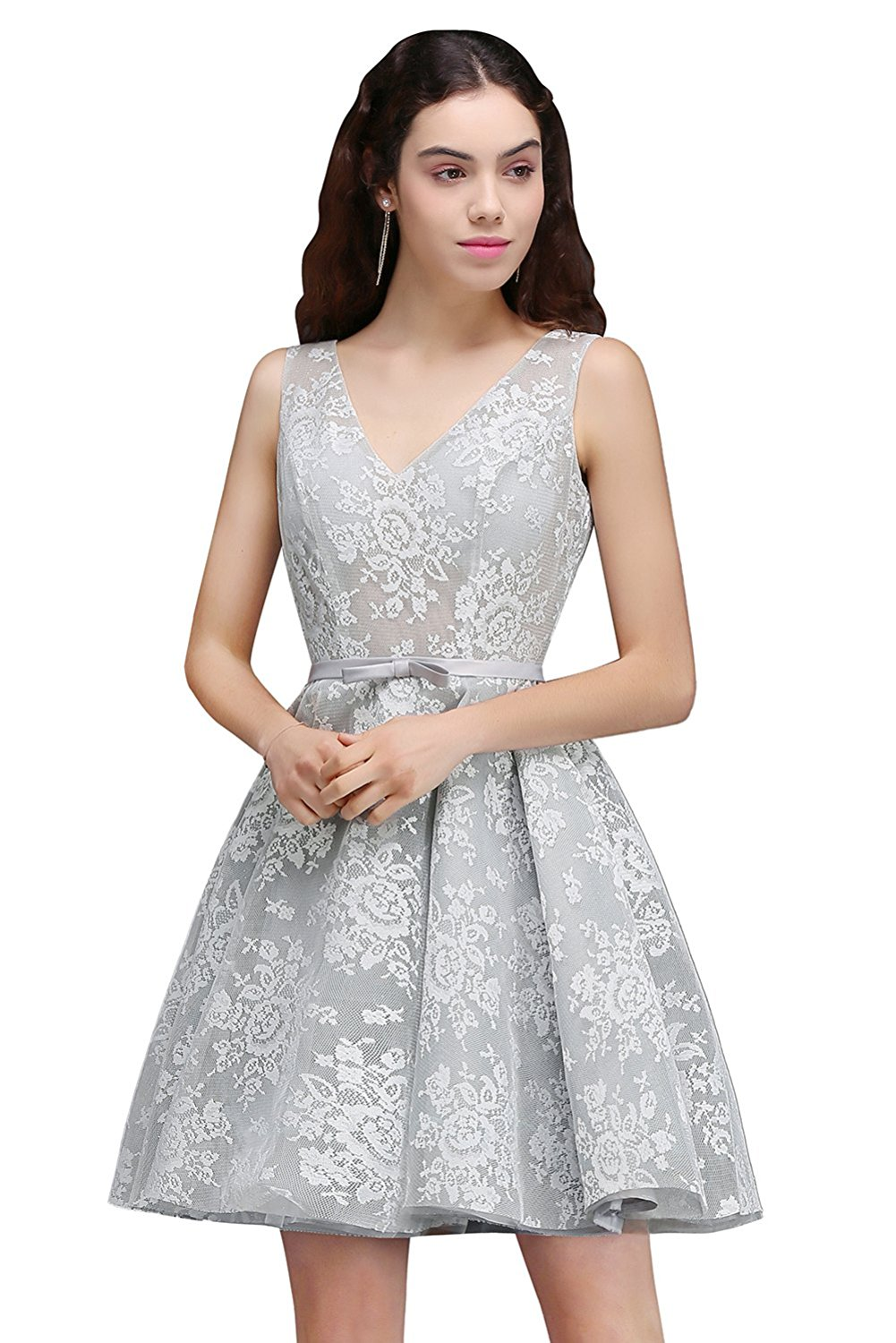 MisShow A-line V-neck Floral Lace Homecoming Dresses Short Prom Dress at Amazon Women's Clothing store: