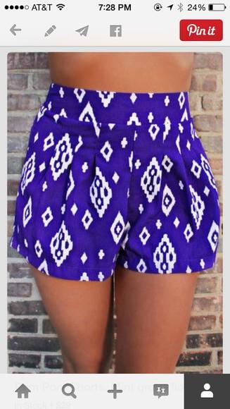 shorts tribal pattern purple