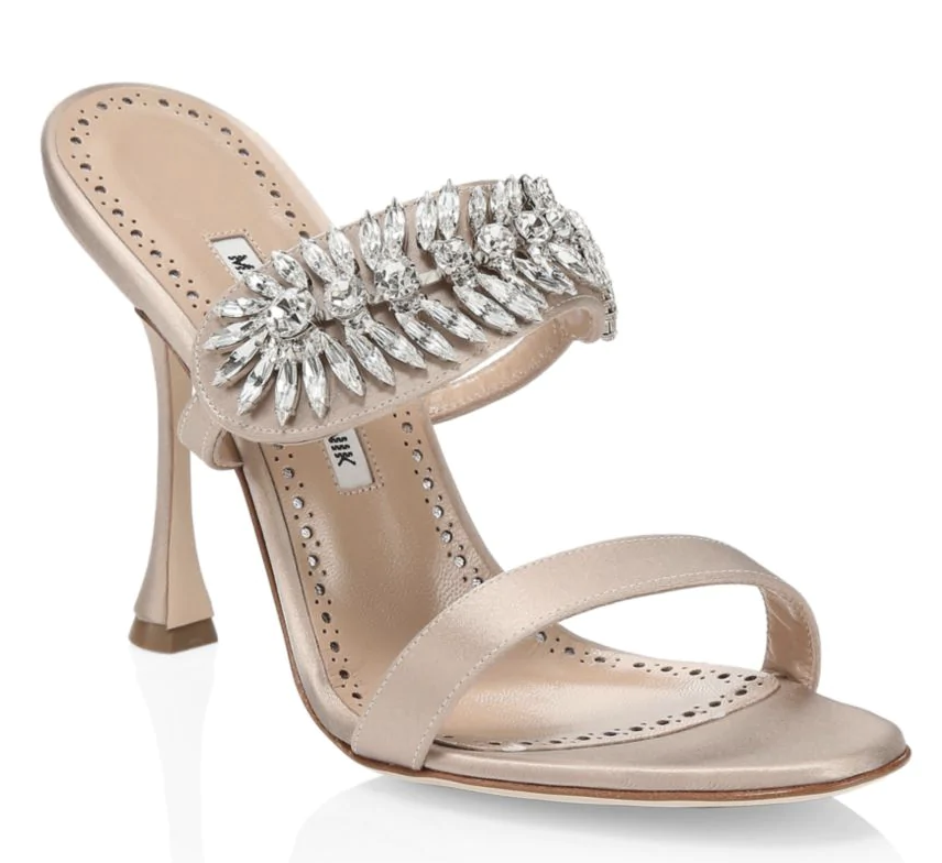 Manolo Blahnik Embellished Satin Mule Sandals