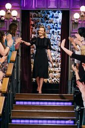 dress,leighton meester,midi dress,black dress