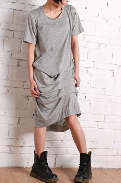Pleated Asymmetric Hemline Long Length Dress - OASAP.com