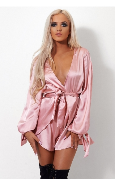 a9e07bd227 Macey Pink Satin Playsuit - The Fashion Bible from The Fashion Bible ...