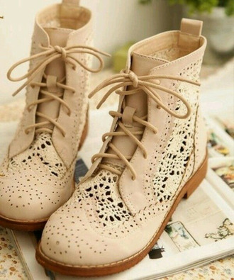 dentelle nude boots leather lace shoes