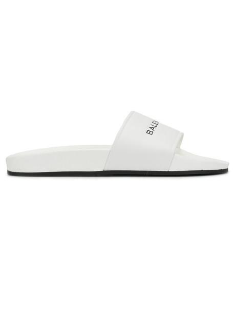 Balenciaga women pool sandals leather white shoes