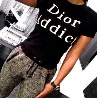 t-shirt dior black fashion addicted