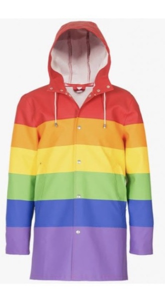 coat raincoat rainbow rain jacket red yellow green blue purple