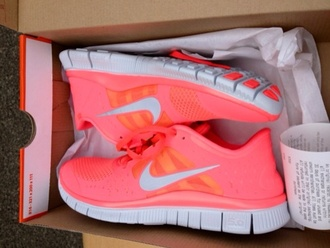 nike nike shoes coral pink pink shoes pink sneakers light pink shoes neon nike free run nike running shoes pastel sneakers peach color girls nikes sportswear