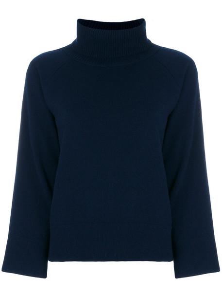 moncler sweater turtleneck turtleneck sweater women blue wool