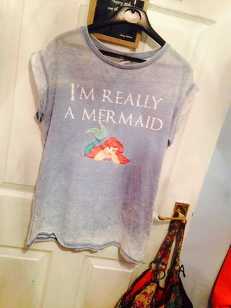 t-shirt mermaid top blue shirt cute outfits cute top primark aerial disney sweater disney