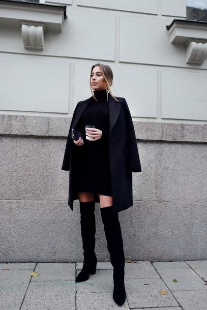 Black Sweater Dress with Shoes