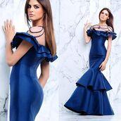 dress,tarik ediz,prom dress,blue dress,navy dress,red carpet dress,ruffle dress,fit and flare dress,evening dress
