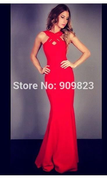 Aliexpress Com Buy Nova Chegada Vestido Vermelho Sereia