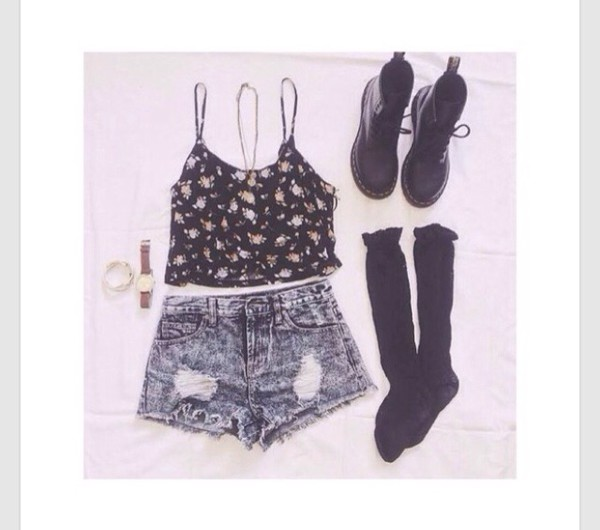 cute tank top cute shorts cute boots