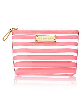 victoria's secret pink stripes makeup bag valentines day gift idea