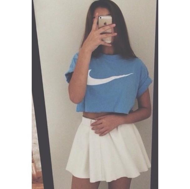 shirt croptops rip top skirt nike high tops